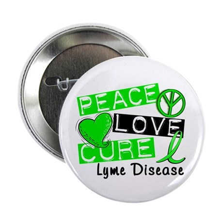 "Peace Love Cure Lyme Disease 2.25"" Button (10 pack"