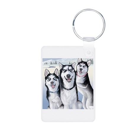 Three Huskies Aluminum Photo Keychain