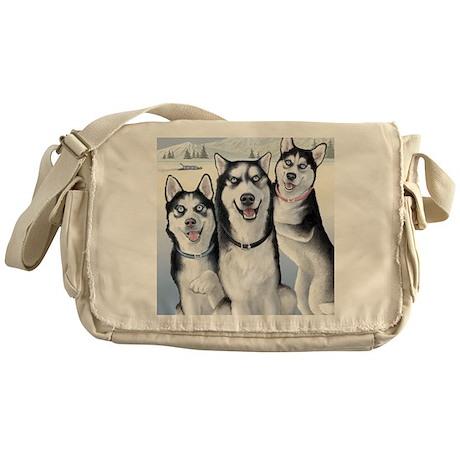 Three Huskies Messenger Bag