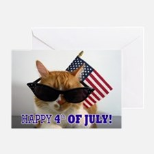 Cat with American Flag Greeting Card