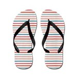 Red, Blue and White Striped Flip Flops