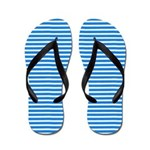 Blue and White Horizontal Striped Flip Flops