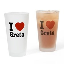 I love Greta Drinking Glass