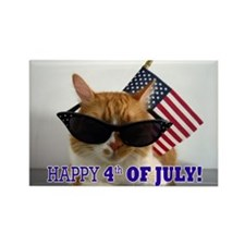 Cool Cat with American Rectangle Magnet (100 pack)