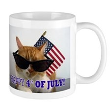 Cool Cat with American Flag Mug