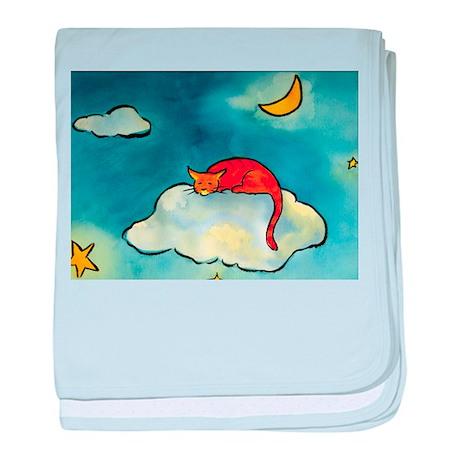 sleeping cloud cat with moon baby blanket