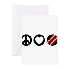 Peace Love Bacon Greeting Card