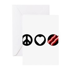 Peace Love Bacon Greeting Cards (Pk of 10)