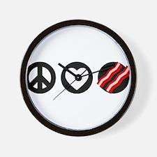 Peace Love Bacon Wall Clock