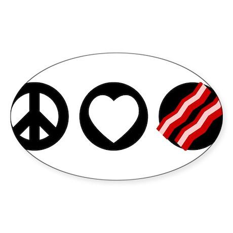 Peace Love Bacon Sticker (Oval)