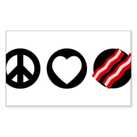 Peace Love Bacon Sticker (Rectangle)