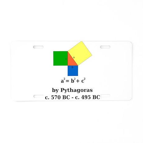 Pythagorean Theorem Aluminum License Plate