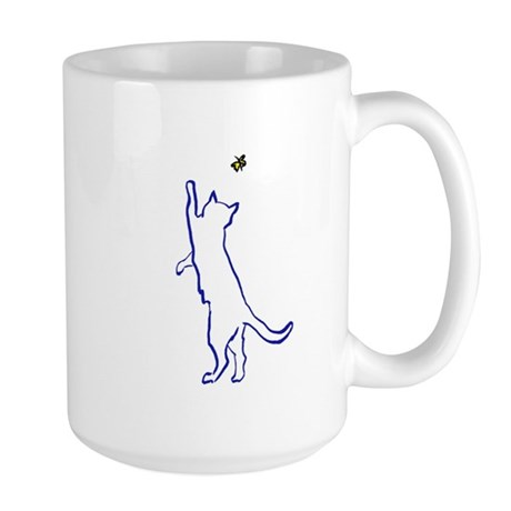 Cat with Butterfly Large Mug