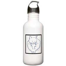 Contented Cat with Border Water Bottle
