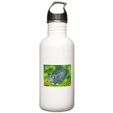 gray cat and flowers Water Bottle