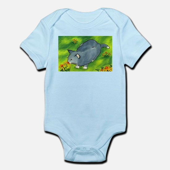 gray cat and flowers Infant Bodysuit