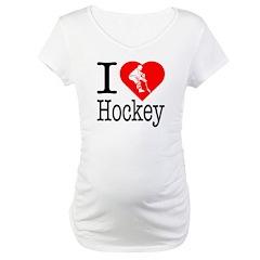 I Love Hockey Maternity T-Shirt