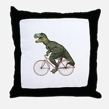 Cycling Tyrannosaurus Rex Throw Pillow