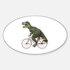 Cycling Tyrannosaurus Rex Sticker (Oval)