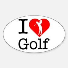 I Love Golf Sticker (Oval)