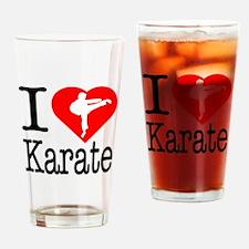 I Love Karate Drinking Glass