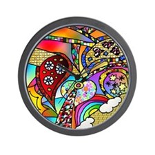 Psychedelic Rainbow Hearts Su Wall Clock