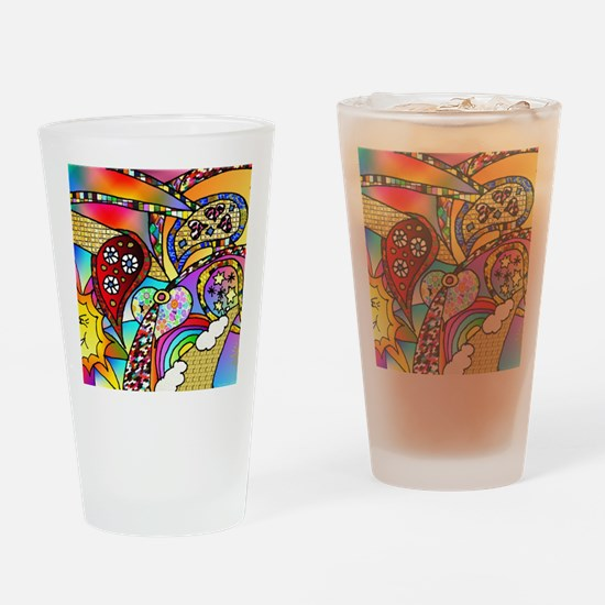 Psychedelic Rainbow Hearts Su Drinking Glass