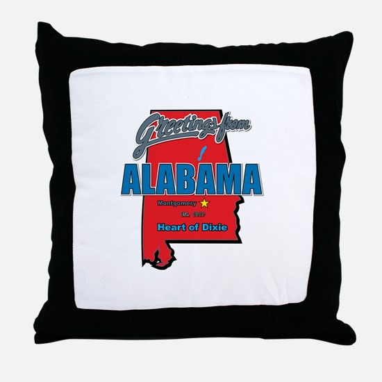 Greetings From Alabama Throw Pillow