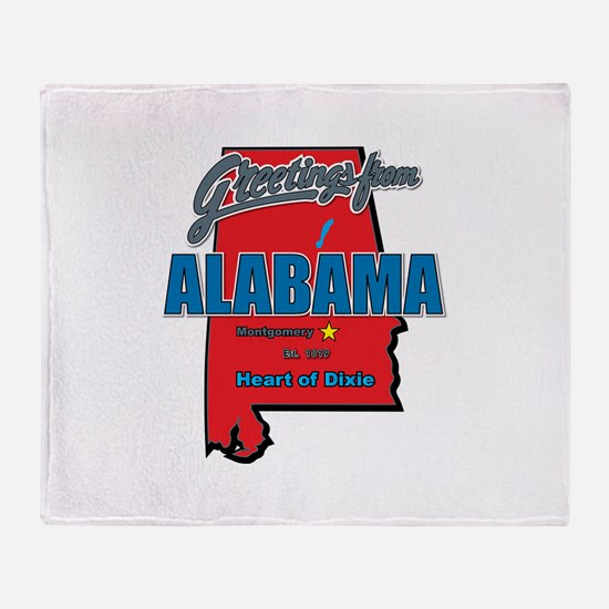 Greetings From Alabama Throw Blanket