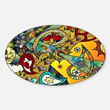 Psychedelic Cycle Of Life Sticker (Oval)