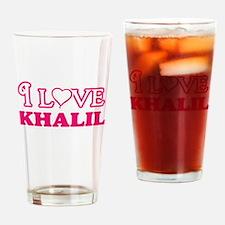I Love Khalil Drinking Glass