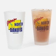 Greetings From North Dakota Drinking Glass