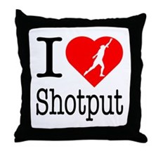 I Love Shotput Throw Pillow
