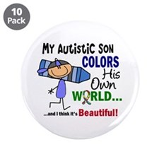 """Colors Own World Autism 3.5"""" Button (10 pack)"""