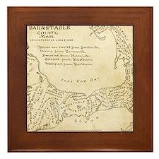 Old Cape Cod Map Framed Tile
