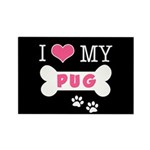 I Love My Pug Rectangle Magnet (100 pack)
