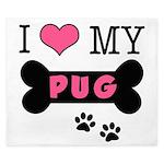 I Love My Pug King Duvet