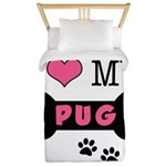 I Love My Pug Twin Duvet
