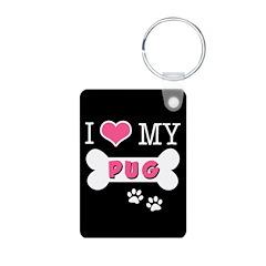 I Love My Pug Keychains