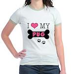 I Love My Pug Jr. Ringer T-Shirt