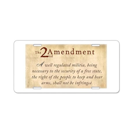 2nd Amendment Vintage Aluminum License Plate