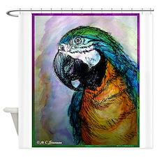 Macaw! Blue, gold parrot, art Shower Curtain