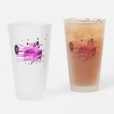 Horse Racing in Pink Drinking Glass