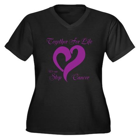 Personalizable Purple Cancer Women's Plus Size V-N