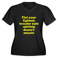 English Teachers Spelling Women's Plus Size V-Neck