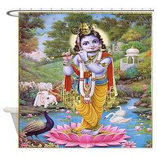 Krishna on Lotus Flower Shower Curtain