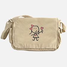 Girl & Pink Ribbon Messenger Bag