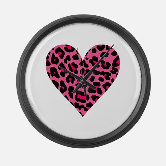 HOT PINK LEOPARD Large Wall Clock