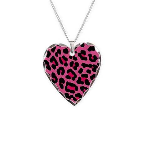 HOT PINK LEOPARD Necklace Heart Charm