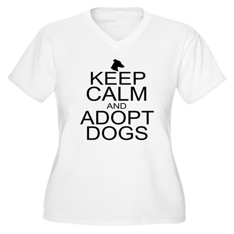 Keep Calm and Adopt Dogs Women's Plus Size V-Neck